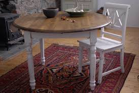 Round Shabby Chic Dining Table With White Paint Color Ideas For