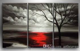 2018 framed black white background red tree hand psainted large modern abstract wall art oil painting canvas multi sizes 3p009 from artheaven  on black white framed wall art with 2018 framed black white background red tree hand psainted large