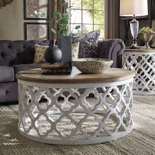 vince reclaimed wood moroccan trellis drum coffee table by inspire q design of small round coffee