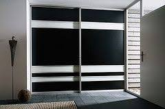 Sliderobes built in fitted sliding <b>wardrobe black</b> cream glass <b>hallway</b> ...