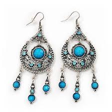 burn silver blue crystal chandelier earrings 9cm drop