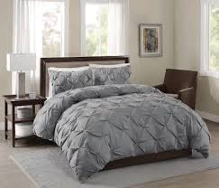 pinch pleat queen duvet cover in grey for chic bedroom decoration ideas