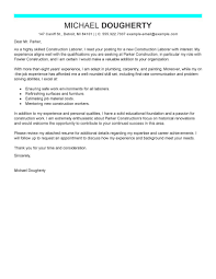 Construction Worker Cover Letter Examples Best Construction Labor Cover Letter Examples Livecareer
