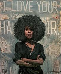 african american black woman portrait painting afro naturalhair