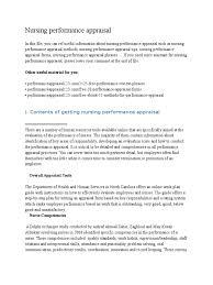 Nursing Performance Appraisal Performance Appraisal Nursing