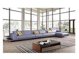modern light blue italian leather sectional