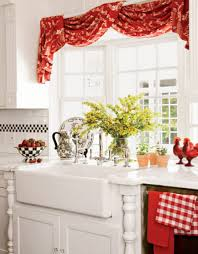 Red Swag Kitchen Curtains Red And White Kitchen Curtains Cliff Kitchen