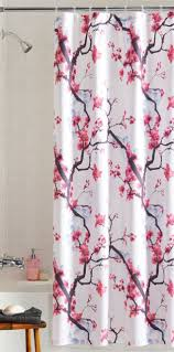 red japanese cherry blossom fl fabric shower curtain branch birds painting for