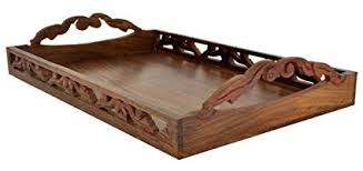 Decorative Serving Trays With Handles Buy Wood Serving Tray with Handles Brass Decorative 100 x 100 Inch 33