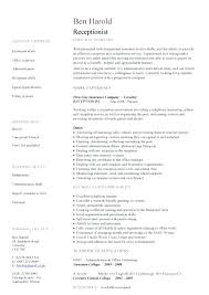 Resume Format For Receptionist Sample Resumes For Receptionist