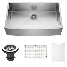 vigo 36 inch farmhouse a single bowl 16 gauge stainless steel kitchen sink with grid and strainer single bowl sinks com