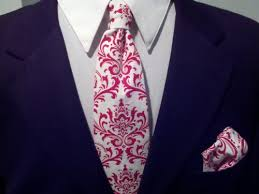 Damask Tie Mens Damask Tie Pocket Square Hanky Set Red White Wedding Necktie