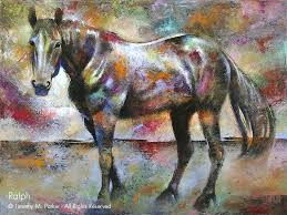 abstract horse painting o fine art print on canvas