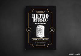 Retro Music Flyer Layout With Jukebox Illustration Buy This Stock