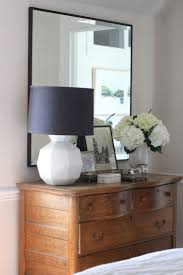 Modern Bedroom Furniture Small Vintage Oak Dresser Becomes Stylish With A Modern Mirror And Geometric White Lamp Kelly G Bedroom Furniture Small
