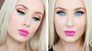 video makeup tutorial achieve a super bright fun colorful eye shadow look