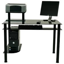 modern black polished metal based computer desk with rectangle glass top and cpu open shelf also astounding small black computer