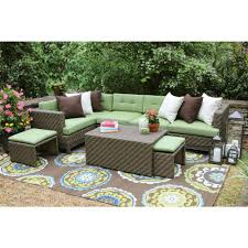 outdoor sectional home depot. Hampton 8-Piece All-Weather Wicker Patio Sectional With Sunbrella Fabric Outdoor Home Depot H