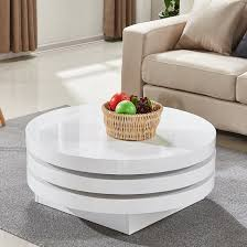triplo rotating coffee table round in white high gloss 1