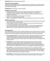 Senior Programmer Job Description Stunning Resident Assistant Job Description Sample 48 Examples In Word PDF