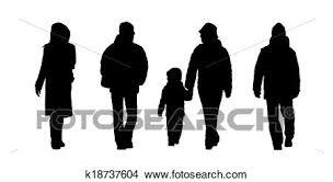 People Walking Outdoor Silhouettes Set 6 Stock Illustration