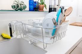 simplehuman slim wire frame dishrack holding dishes image number 13 of stacked plate rack
