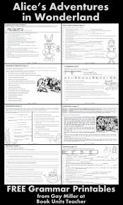 alice in wonderland literature guide english literature and grammar printables an alice in wonderland theme