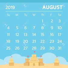 August Theme Calendar Calendar For August 2019 With Sand Castle Theme Vector