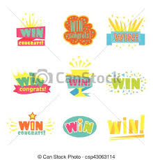 Win Congratulations Stickers Collection Of Comic Designs For Video Game Winning Finale