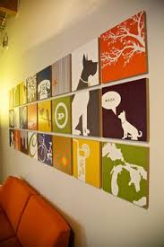 pictures to hang in office. Multiple Pictures Office Wall Art Ideas Colorful Painting Inspiring Quotes Behind Red Couch Dogs A Cup To Hang In
