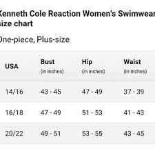 Kenneth Cole Plus Size Swimwear Size Chart
