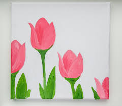 canvas tulip painting tutorial 4 and painted pink tulips with green stems and leaves on a