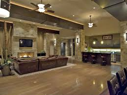 Open Stone Fireplace Contemporary Great Room With Built In Bookshelf Stone Fireplace