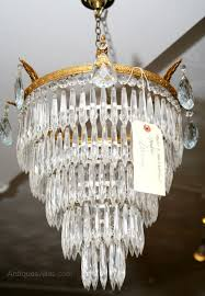 5 tier 1930s waterfall chandelier antique