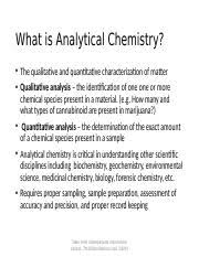 Chem 469 Pp Ch 1 Pptx What Is Analytical Chemistry The Qualitative