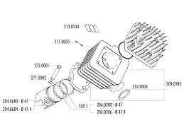 Cylinder kit polini cast iron sport 70cc 47mm for peugeot ac horizontal