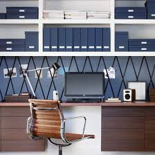 home office wall storage. Navy Blue Home Office With Walnut Desk And Chair Wall Storage
