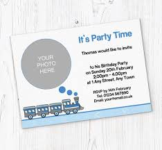 Upload And Print Invitations Online Blue Train Photo Party Invitations