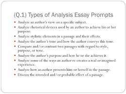 ap language exam q the analysis essay minutes in an   q 1 types of analysis essay prompts analyze an author s view on a