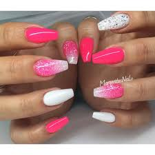 Neon Pink And White Coffin Nails Glitter Ombré Springsummer 2016