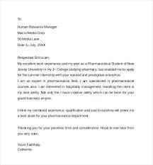 Pharmacist Internship Letter Application Sample For Assistant