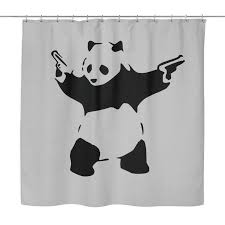 fine design panda shower curtain stunning ideas banksy panda with s shower curtain brain juice tees