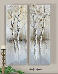 contemporary panel artwork birch tree panel art set of 2 41810 art