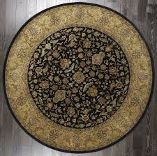 rugsville persian classic mahal black yellow tufted wool round rug 244x244