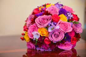 Bright Define Flower Bridal Bouquet Colorful Flowers Wedding Roses Bright