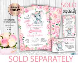 baby girl invite flowral elephant baby girl shower invitation template floral elephant digital invitation watercolor flowers frame editable instant download