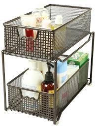 Amazon.com: DecoBros Two Tier Mesh Sliding Cabinet Basket Organizer Drawer,  Bronze: Home & Kitchen