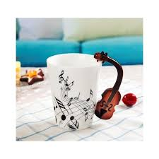 creative violin style guitar ceramic mug coffee tea milk stave cups with handle coffee mug novelty gifts color style 1