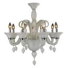 murano venetian style 8 light white blown glass chandelier