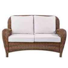 beacon park wicker outdoor loveseat with cushions included choose your own color